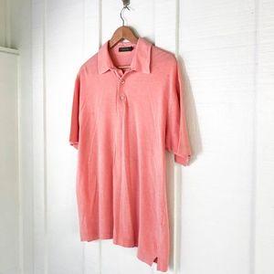 ERMENEGILDO Zegna Pink Salmon Jersey Knit Polo L